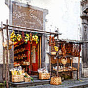 Tratorria In Italy Print by Susan Schmitz