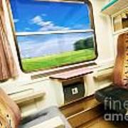 Travel In Comfortable Train. Art Print