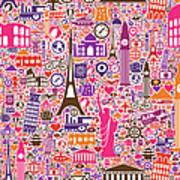 Travel Seamless Pattern Art Print