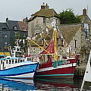 Trawlers In Honfleur Art Print