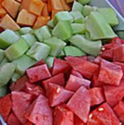 Tray Of Melon Chunks Art Prints Art Print