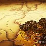 Treasure Map And Doubloons Art Print