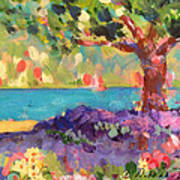 Tree And Flowers By The Water Art Print