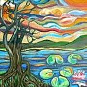 Tree And Lilies At Sunrise Art Print