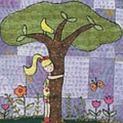 Tree Hugging Art Print by Julie Bull