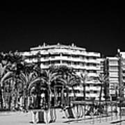 Tree Lined Seafront Promenade And Beach Salou Catalonia Spain Art Print