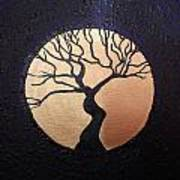 Tree Of Life Purple With Gold Moon Art Print