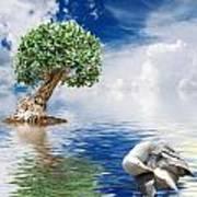 Tree Seagull And Sea Art Print