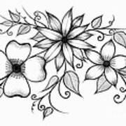 Tri-floral Sketch Art Print