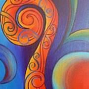 Tribal Koru Red Art Print