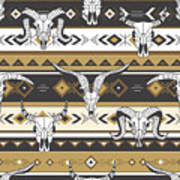 Tribal Seamless Pattern With Skulls Of Art Print