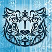 Tribal Tattoo Design Illustration Poster Of Snow Leopard Art Print by Sassan Filsoof
