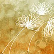 Trio Abstract Flower Art  Art Print