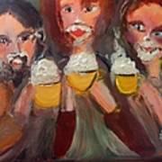 Trio In Cafe Art Print