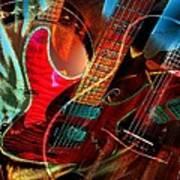 Triple Header Digital Banjo And Guitar Art By Steven Langston Art Print