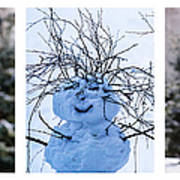 Triptych - Christmas Trees And Snowman - Featured 3 Art Print