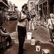 Trombone Man On Royal St. New Orleans Art Print