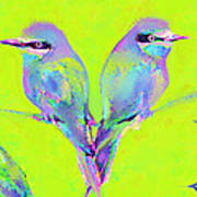Tropical Birds Blue And Chartreuse Art Print