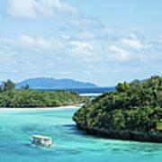 Tropical Blue Lagoon And Lush Rock Art Print