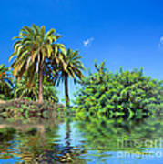 Tropical Exotic Jungle And Water Art Print