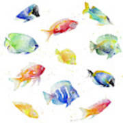 Tropical Fish Round Art Print