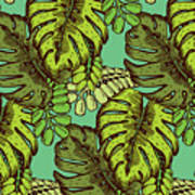 Tropical Leaves Pattern Art Print