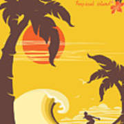 Tropical Paradise With Palms Island And Art Print