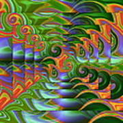 Tropical Swirls Layered Art Print
