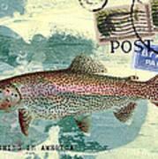 Trout Fishing In America Postcard Art Print