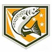 Trout Jumping Retro Shield Art Print