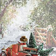 Truck Carrying Christmas Trees Art Print
