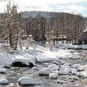 Truckee River At Christmas Art Print by Denice Breaux
