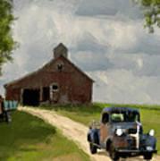 Trucks And Barn Art Print by Jack Zulli