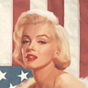 True Blue Marilyn In Flag Art Print
