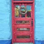 Tucson Barrio Red Door Painterly Effect Art Print