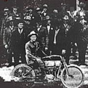Tucson Police Department  On Steps Of City Hall With 1st Police Motorcycle C. 1917 Tucson Arizona Art Print