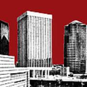Tucson Skyline 1 - Dark Red Art Print