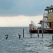 Tug Boat On Lake Pontchartrain Art Print