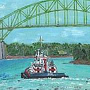Tug Sabine Under Bourne Bridge Art Print