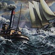 Tugboat And Lumber Schooner In Storm Art Print