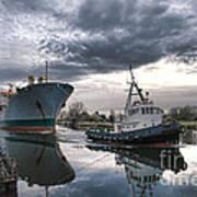 Tugboat Pulling A Cargo Ship Art Print