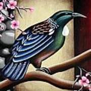 Tui And Cherry Blossom Art Print
