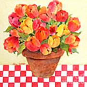 Tulips And Checks Art Print