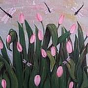 Tulips And Dragonflies In Misty Morning Art Print