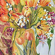 Tulips And Narcissi In An Art Nouveau Vase Art Print by Joan Thewsey