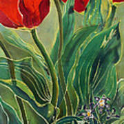 Tulips And Pushkinia Art Print by Anna Lisa Yoder