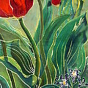Tulips And Pushkinia Detail Print by Anna Lisa Yoder