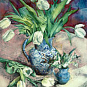 Tulips And Snowdrops Art Print by Julia Rowntree