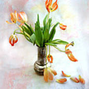 Tulips In An Old Silver Pitcher Art Print