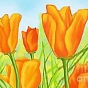 Tulips In Grass Art Print
